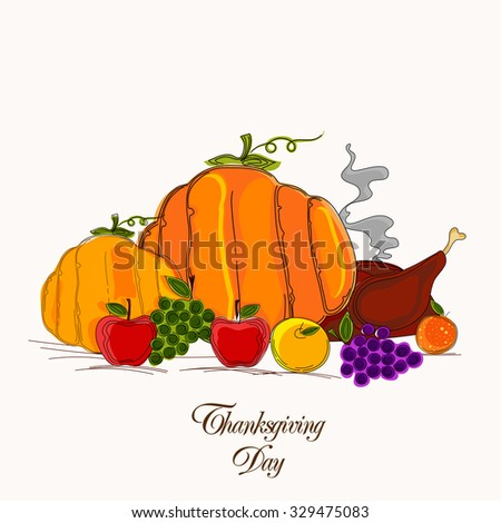 Fresh vegetables and cooked chicken for Happy Thanksgiving Day celebration. - stock vector