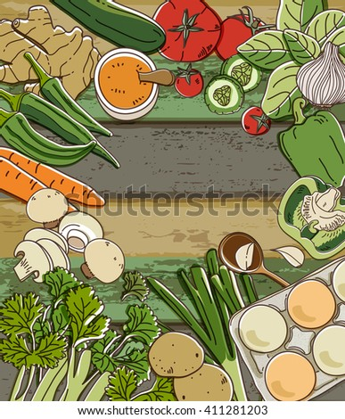 Fresh vegetables on wood table - stock vector