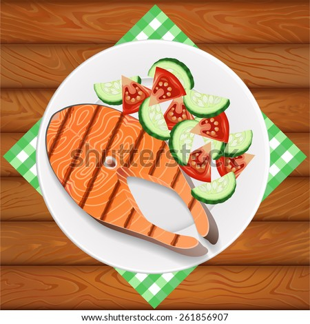 Freshly grilled salmon with fresh salad. White dish is on the wooden table. Vector image can be used for restaurant and cafe menu design, food posters, print cards and other crafts. - stock vector