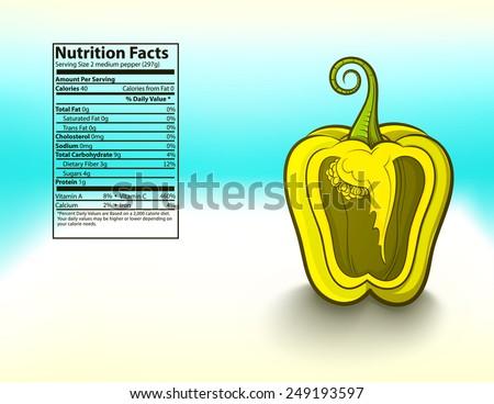 freshness yellow bell pepper nutrition facts vector illustration - stock vector