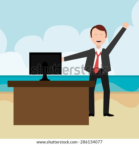 Friday design over beachscape background, vector illustration. - stock vector