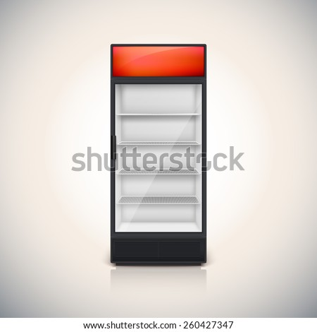 Fridge with glass door, mock-up on a white background. - stock vector