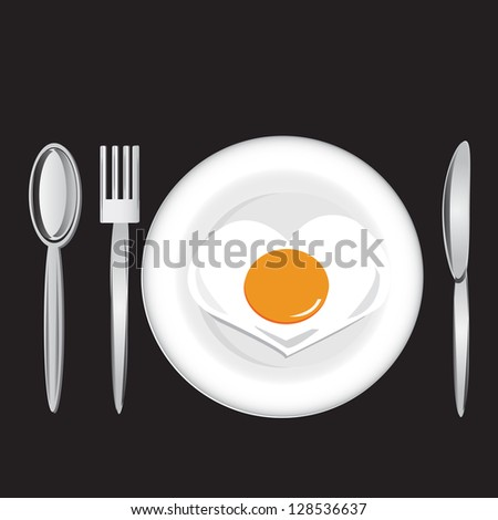 Fried egg and spoon, fork, knife on black background, vector - stock vector