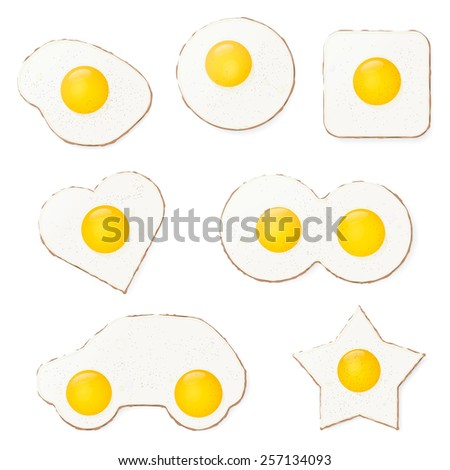 Fried Eggs Vector Illustration. Fried eggs in various shapes. Pepper, eggs, drop shadows on separate layers. - stock vector