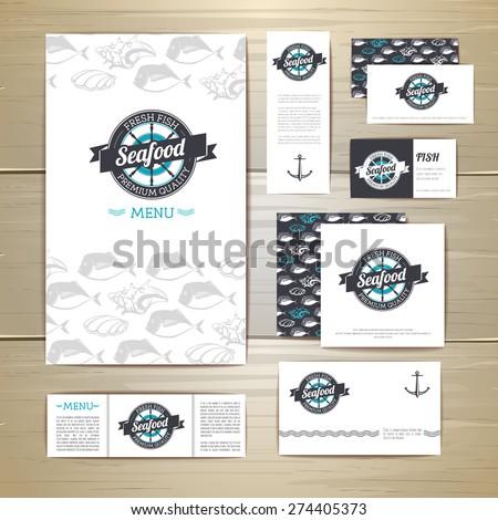Fried fish restaurant menu concept design. Corporate identity. Document template - stock vector