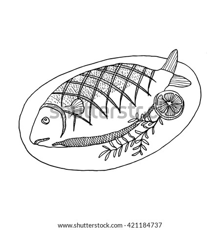 Cooked fish clipart black and white - photo#6