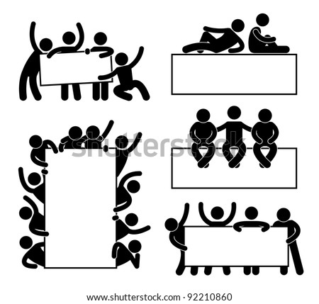 Friend Community Teammate Holding Showing Empty Blank Banner Icon Symbol Sign Pictogram - stock vector