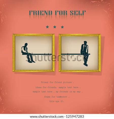 Friend on frames,vintage,vector - stock vector