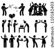 Friend Party Celebration Birthday Icon Symbol Sign Pictogram - stock vector