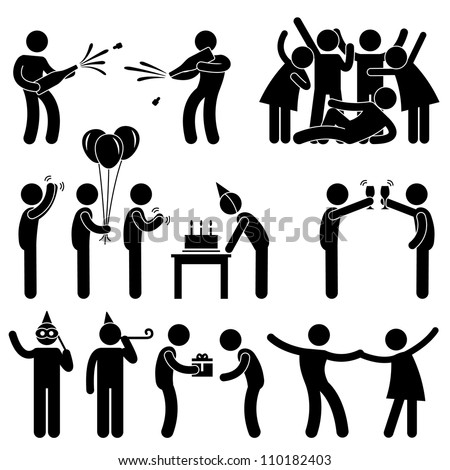 Friend Party Celebration Birthday Icon Symbol Sign Pictogram - stock vector