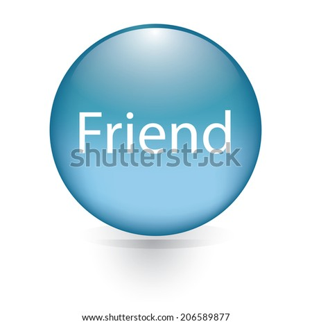 Friend word blue button - stock vector