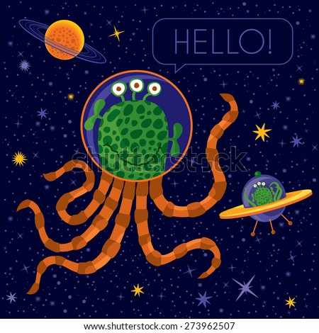 Friendly Alien Saying Hello - stock vector