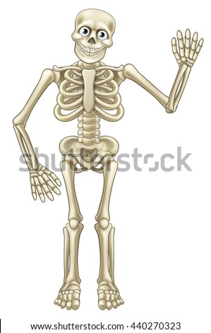 Friendly cartoon skeleton mascot or Halloween character waving his hand - stock vector
