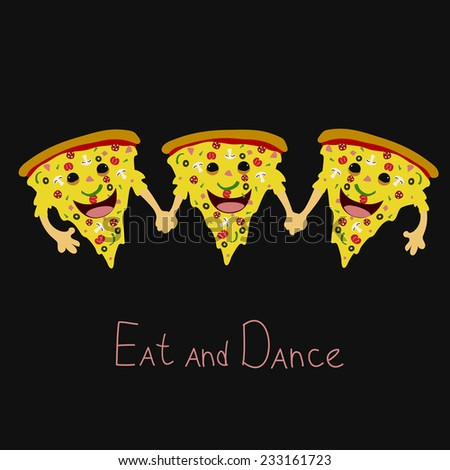 Friendly dancing pizza with pepperoni, mushrooms tomato cheese olives happy faces and hands - stock vector