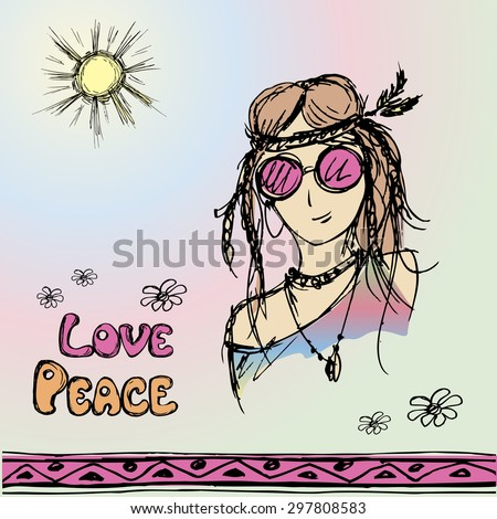 Friendly girl hippie with long hair making peace sign, vector illustration - stock vector
