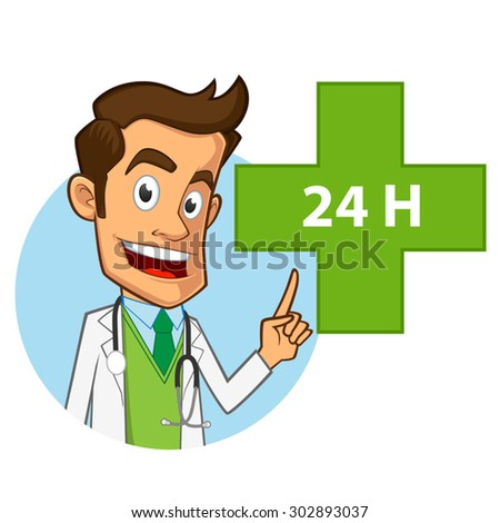 Friendly pharmacist, he is pointing a green cross - stock vector