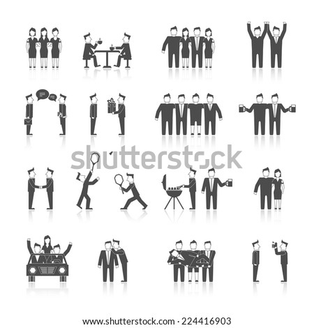Friends and friendly relationship social team black icon set with cheerful happy people isolated vector illustration - stock vector