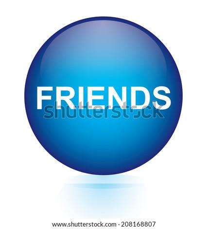 Friends blue circular button - stock vector