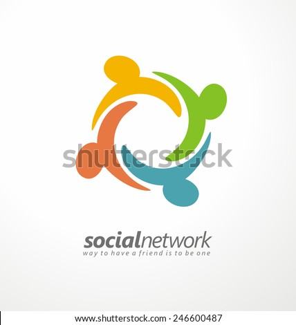 Friends concept social network icon. Abstract business logo design vector template.  Symbol of friendship and partnership. Internet community, online social network and social media pictogram layout. - stock vector