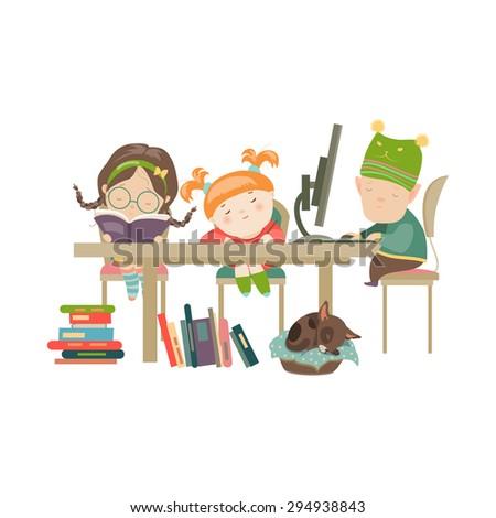 Friends doing homework. Vector Illustration of boy and girls doing their homework. - stock vector