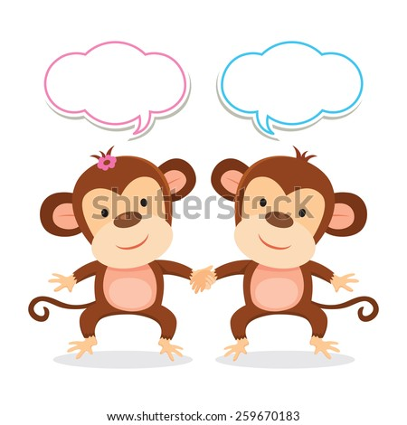 Friends. Friendship. Cheerful monkey holding hands. - stock vector