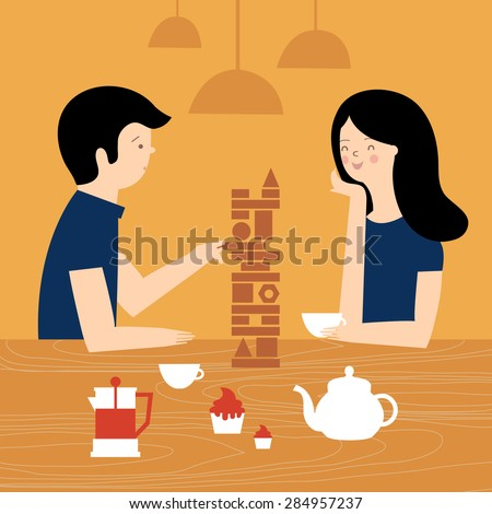 Friends in cafe playing board games. A couple at a dinner in an cafe. Vector illustration - stock vector