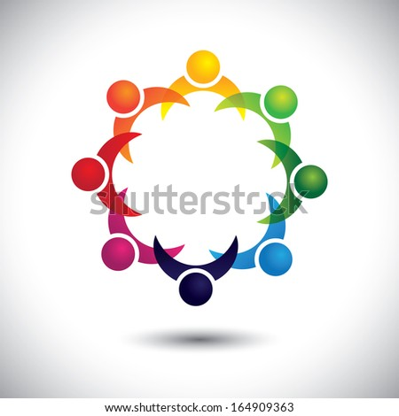 friends & other people partying together - entertainment concept vector. This abstract graphic also represents support group meeting, students learning, community unity, management strategy & planning - stock vector