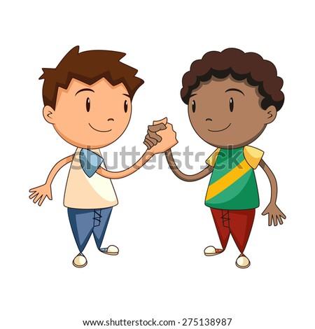 Friends shaking hands, vector illustration - stock vector