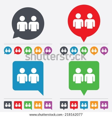 Friends sign icon. Social media symbol. Speech bubbles information icons. 24 colored buttons. Vector - stock vector