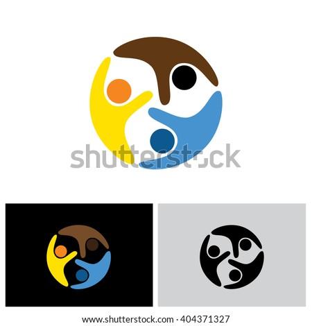 friends vector logo icon in eps 10 format - stock vector