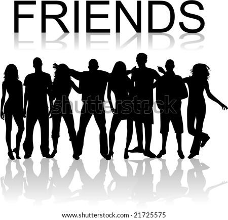 Friends - vectors work , black silhouettes - stock vector