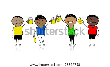 Friends with beer, stag party for your design - stock vector