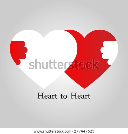 Friendship concept. Heart to Heart - stock vector
