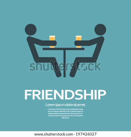 Friendship concept illustration with two silhouettes sitting over a beer in a pub, bar, club. Eps10 vector illustration. - stock vector