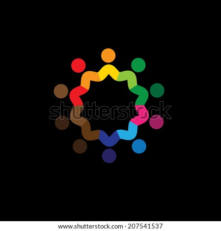 friendship, unity, togetherness of people - concept vector. This graphic can also represent icons of colorful kids or children, united community, students union, employees & workers meeting - stock vector