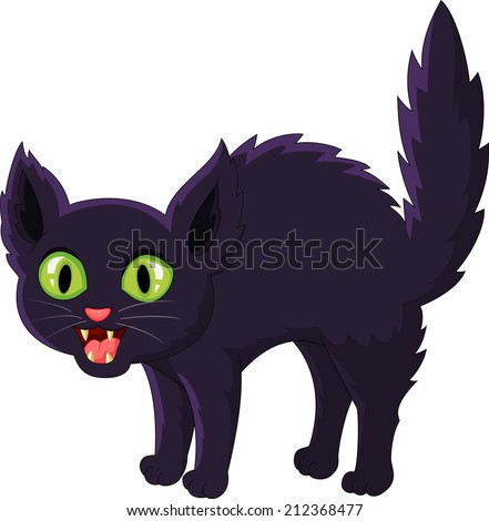 Frightened cartoon black cat - stock vector