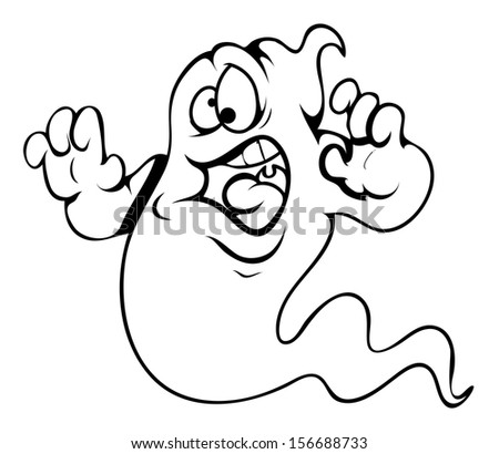 frightened ghost cartoon - Halloween vector illustration - stock vector