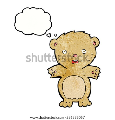 frightened teddy bear cartoon with thought bubble - stock vector