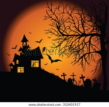 Frightening night landscape with a cemetery, tree and a ghost house. - stock vector