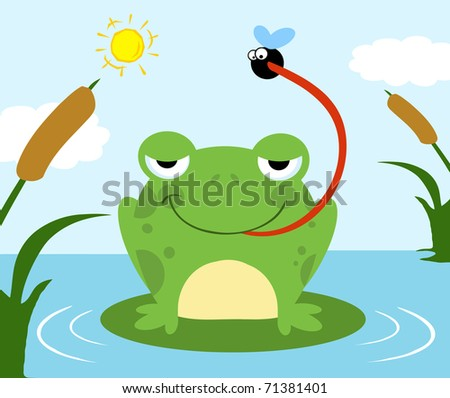 Frog Catching Fly - stock vector