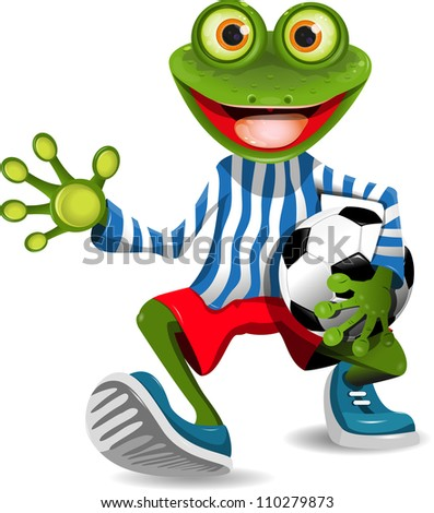 frog football player - stock vector
