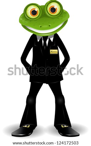 frog security guard in a black suit - stock vector