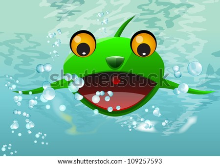 Frog Thing, Alien Water Creature, Monster, Green, vector illustration - stock vector