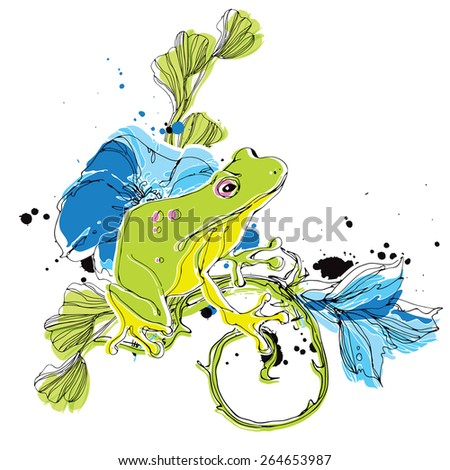 Frog with flowers eps10 - stock vector