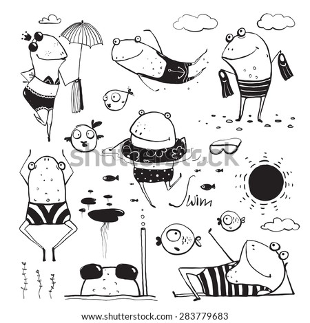 Frogs Summer Swimming Drawing Collection. Fun childish hand drawn inky one color outline illustration for kids. - stock vector