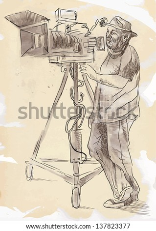 From history to the present - the art of film: Cameraman. /// Hand drawing illustration converted into vector (4 layers). - stock vector