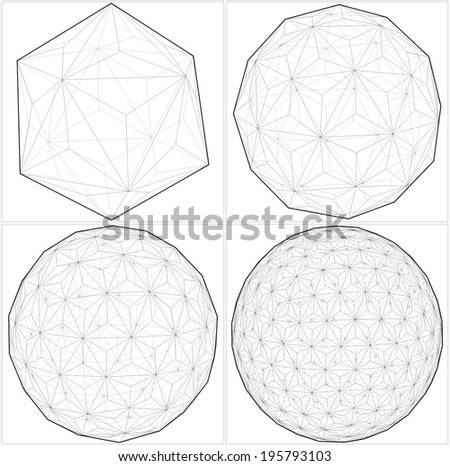 From Icosahedron To The Ball Sphere Lines Vector 37 - stock vector