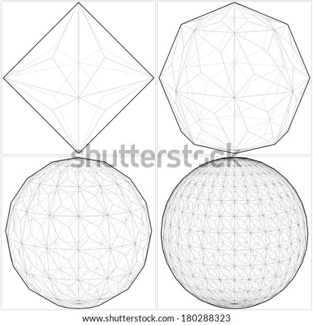 From Octahedron To The Ball Sphere Lines Vector 36 - stock vector