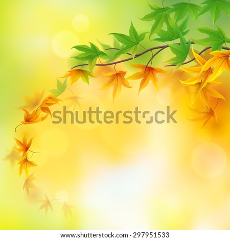 From summer to autumn branch leaves background - stock vector