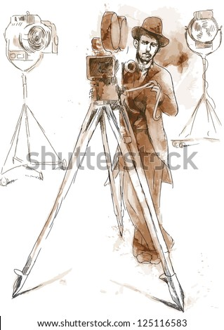 From the film history: Man behind the camera. /// Vintage (in the grunge-retro style). Drawing converted into vector. - stock vector